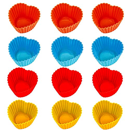 Unique'store 12Pcs Random Color Reusable Heart Shape Silicone Muffin Cases Cupcake Liner Bake Mold Mould Perfect Non-stick Coating  Dishwasher Safe.