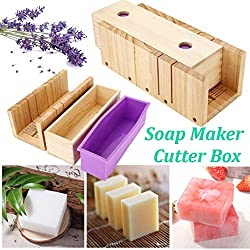 Practical Pine Adjustable Wooden Soap Cutter Slicer - Handmade Silicone Soap Loaf Mould and Wood Box Making Tool #1