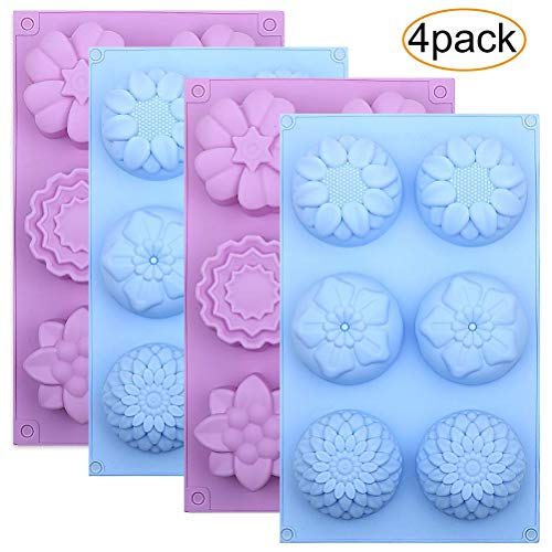 Silicone Flower Cake Molds Set of 4  6-Cavity DIY Handmade Soap Molds  Dessert Baking Pans  Silicone Soap Bar Mould for Ice Cube Tray  Jelly  Mooncake  Chocolate Biscuit  Pudding  Muffin  Cupcake
