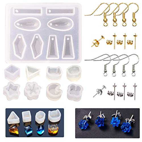 Woohome 36 PCS Stud Earring Mold Tool Included 9 PCS Silicone Resin Mould  20 PCS Stud Earring and 8 PCS Ear Hook  Jewelry Casting Moulds Clear Tiny Ear for DIY Jewelry Craft Making