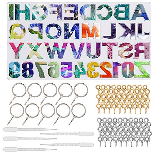 falllea 116 Pcs Silicone Resin Moulds  Alphabet Resin Keychain Molds Silicone Letter Resin Jewelry Molds Including Manual Hand Drill Keychain DIY Sugar Cake Craft Casting Mould