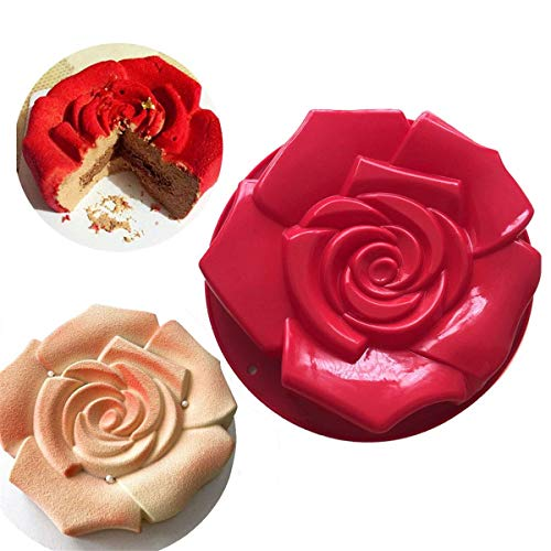FantasyDay 11 Rose Flower Birthday Cake Mold Silicone Cake Baking Pan/Silicone Mould for Anniversary Birthday Cake  Loaf  Muffin  Brownie  Cheesecake  Tart  Pie  Flan  Bread and More