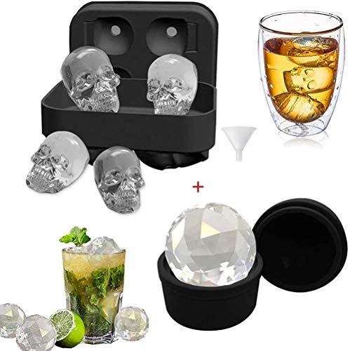 Klauee Skull Ice Cube Moulds Ice Ball Mould  Food Grade Silicone Diamond Skull Ice Cube Tray  Round Ice Cube Moulds for Cocktails Beer Whiskey Bourbon  BPA Free and Easy to Release