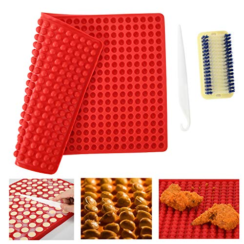 NonStick Silicone Baking Mats Bakeware  1.2cm Hemisphere Baking Mould for Biscuits/Chocolate/Dog Treats/Puppy Cookies  Fat Reducing Cooking Mat + a Cake Stripping Knife + a Scrubbing Brush (Red)