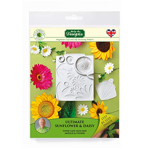Ultimate Sunflower & Daisy Veiner  Silicone Sugarpaste Icing Mould  Flower Pro by Nicholas Lodge for Cake Decorating  Crafts  Cupcakes  Sugarcraft  Candies  Cards and Clay  Food Safe  Made in UK