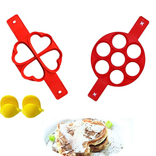 yizeda 2 Pack Pancake Moulds  Egg Maker  7 Holes &4Holes Moulds  Round & Heart Shape Moulds  Food-Grade Silicone Mold  Non Stick Pancake Maker Egg Ring Muffin Pancake Mould