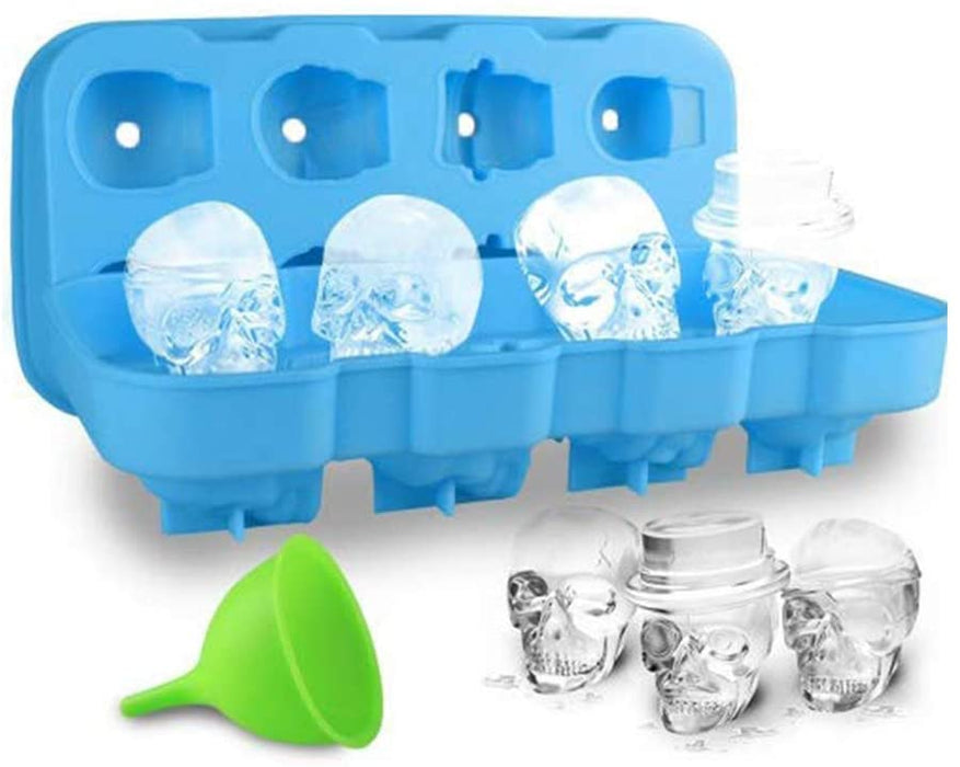 3D Skull Ice Cube Silicone Mould with Lid - 8 Skull Black