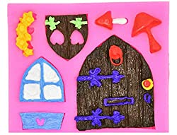 Gnome mold Fairy wizard Silicone Cupcake Baking Molds House Cartoon Door forest party Fondant molds wood door window Cake Decorating Tools Gumpaste mushroom Chocolate Candy Clay Mould