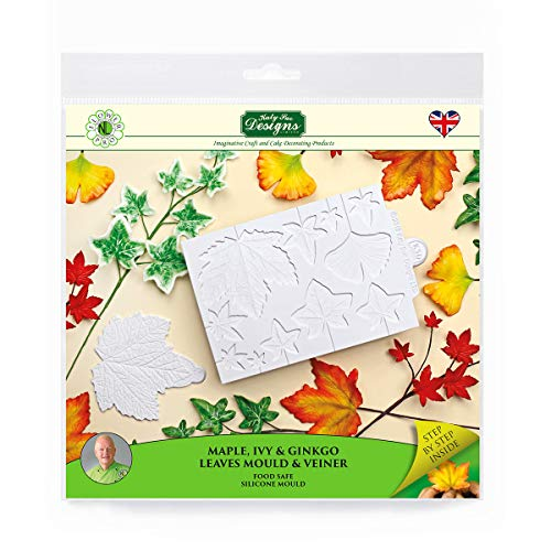 Maple  Ivy  Ginkgo Leaves and Veiner Silicone Sugarpaste Icing Mould  Flower Pro by Nicholas Lodge for Cake Decorating  Crafts  Cupcakes  Sugarcraft  Candies  Cards and Clay  Food Safe  Made in The UK