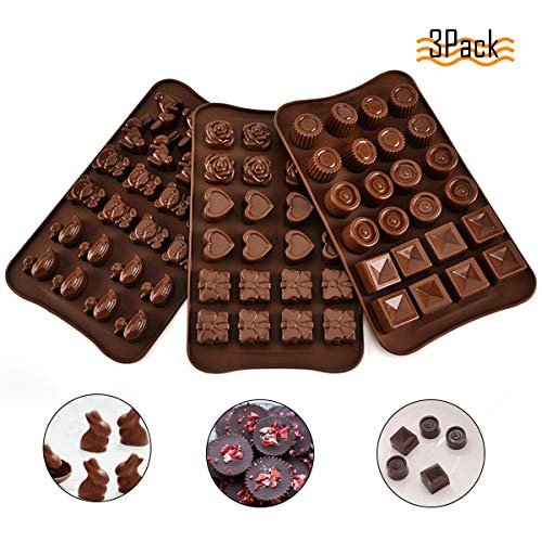 Silicone Chocolate Molds 3 Pcs Non-Stick Chocolate Mould Reusable DIY Baking Molds for Candy Chocolate Jelly Cookie