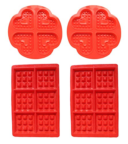 Slicone Waffle Mould - WENTS Silicone Baking Round Square Waffles Mould Muffin Pans Baking Molds 4PCS