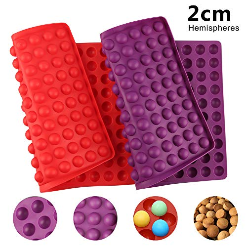 Silicone Baking Mat  2 Pack Non-Stick Reusable Baking Moulds  2cm Hemisphere Heat Resistant DIY Cake Mold Kitchen Chocolate Puppy Cookies Baking Mould (38.5 x 28cm  140 Cavities)