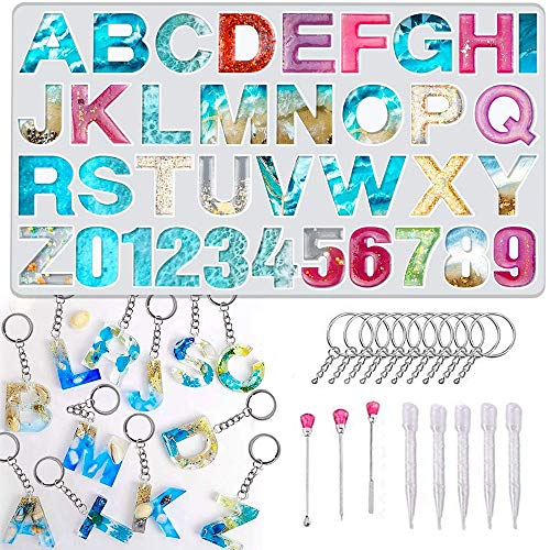 Numbers Letters Alphabet Silicone Casting Resin Mould Jewelry Pendant Making Mold for Wedding Baby Shower Birthday Handmade Craft DIY Pack of 29