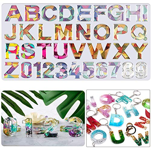 JEMESI Alphabet Epoxy Resin Molds Letter Number Silicone Mould for Resin  DIY Casting Resin Molds for Making Keychain/House Number