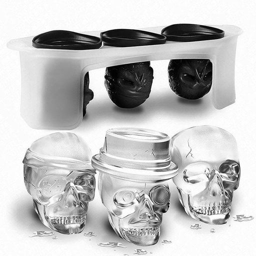 3D Skull Ice Tray moulds, Set of 3 Different Flexible Silicone Skull Ice moulds