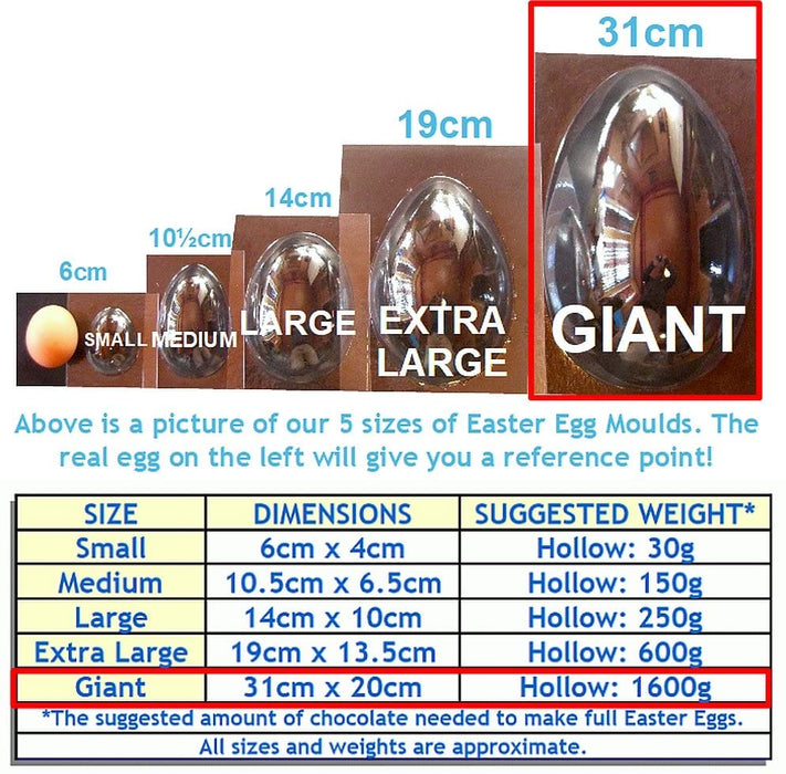 GIANT Easter Egg Moulds Set of 2