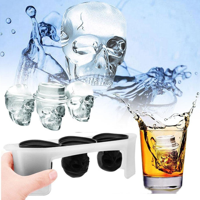 Moldyfun 3D Skull Ice Tray molds, Set of 3 Different Flexible Silicone Skull Ice molds