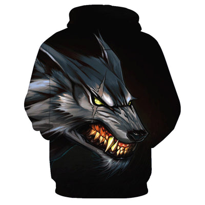 Teeth Fierce Metal Wolf Hoodie