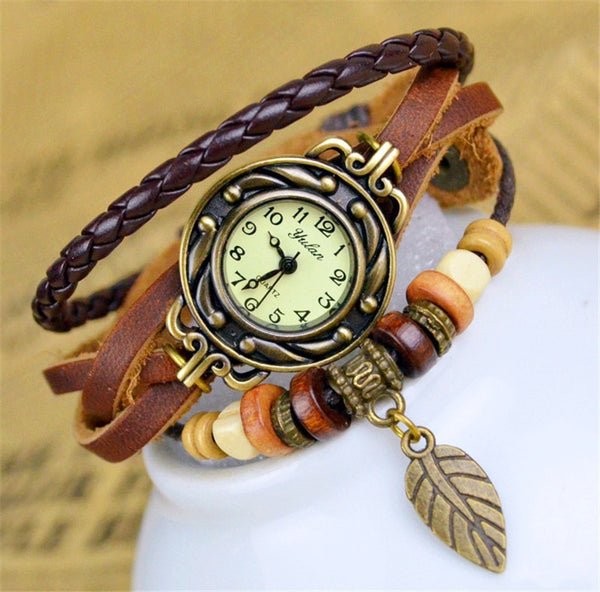 Leaf Pendant Bracelet Watch