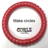 4 Pack Curlz Craft Foam for Crafts and Projects - 50 inch pre-cut spiral. Red,Blue,Yellow, Green