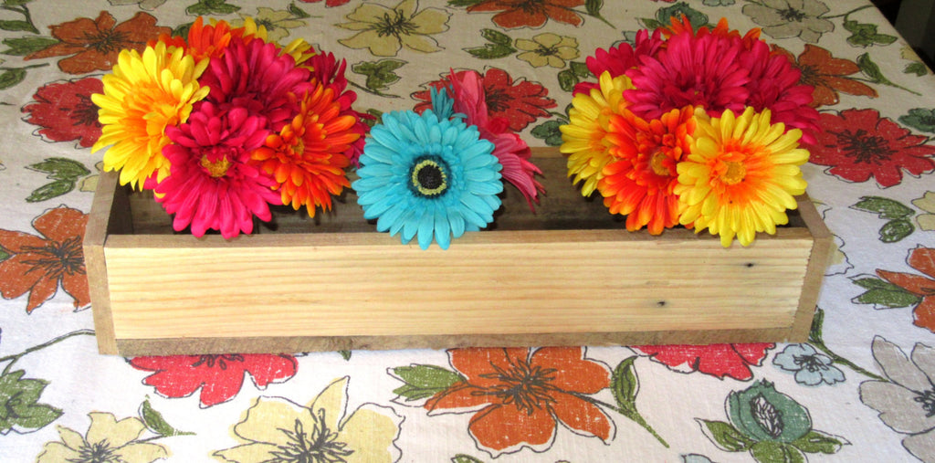 Reclaimed Unfinished Pallet Wood Planter Box • Mason Jar Centerpiece, Long wood box, Candle Holder, Wedding Centerpiece • 21 inches long