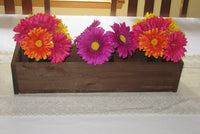 Stained Wood Planter Box • Mason Jar Centerpiece, Long wood box, Candle Holder, Wedding Centerpiece • 21 inches long