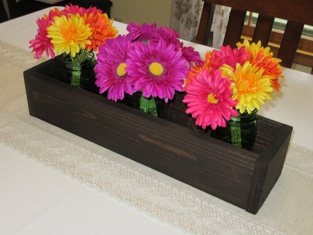 Dark Walnut Stained Wood Planter Box • Mason Jar Centerpiece, Long wood box, Candle Holder, Wedding Centerpiece • 18 inches long