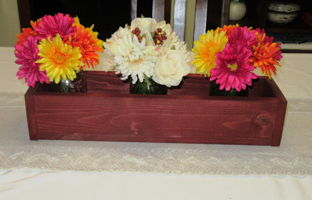 Stained Wood Planter Box • Mason Jar Centerpiece, Long wood box, Candle Holder, Wedding Centerpiece, Sedona Red Stained• 18 inches long
