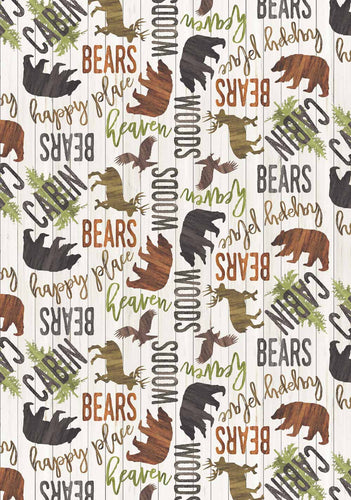 Moose, Bear and Cabin Fleece Throw