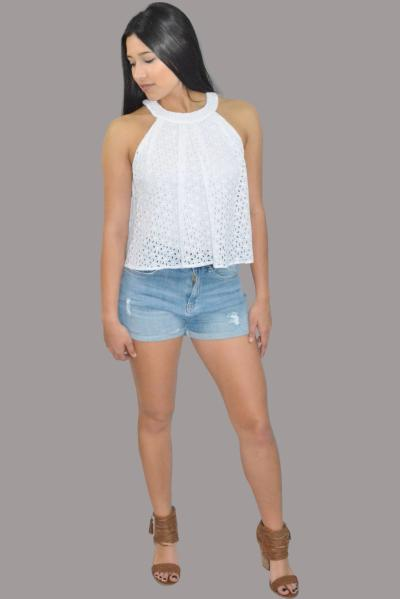 White haltered neck cut out top