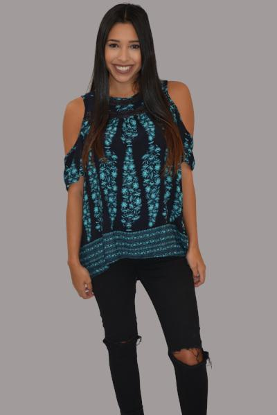 Navy with turquoise top