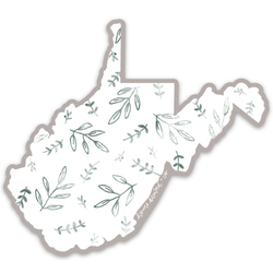 Watercolor Greenery State Sticker