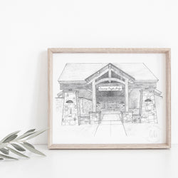Soaring Eagle Lodge at Snowshoe Hand-drawn Art Print