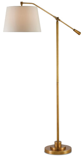 mastoke brass floor lamp with beige shade from currey and co