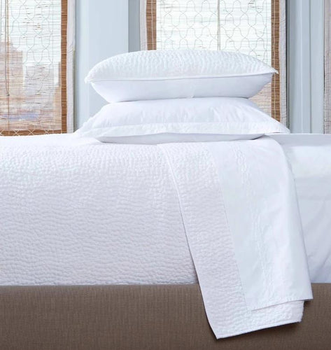 john robshaw coverlet, white, hand stitched coverlet