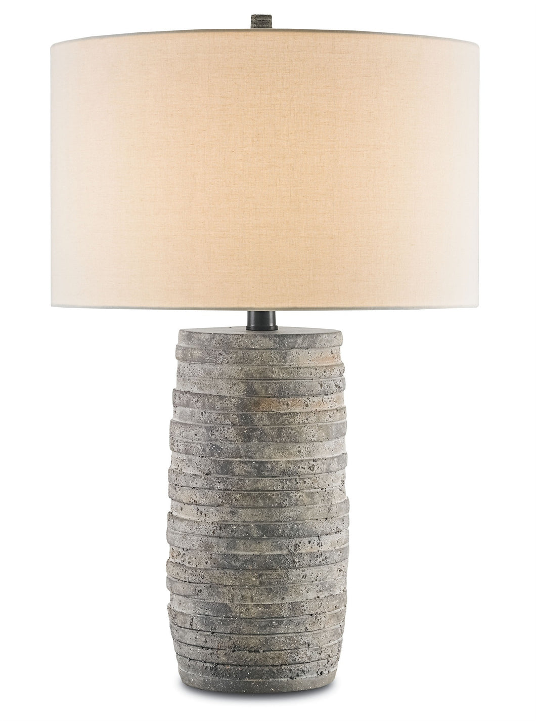 table lamp, flat discs of terracotta encircle a wrought iron spine