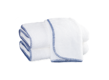 Matouk hand stitched towel, guest bathroom blue and white towels, hand towels
