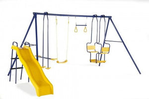 Plum 5 Unit Metal Swing Set with Slide - Backyard Fun and Play!