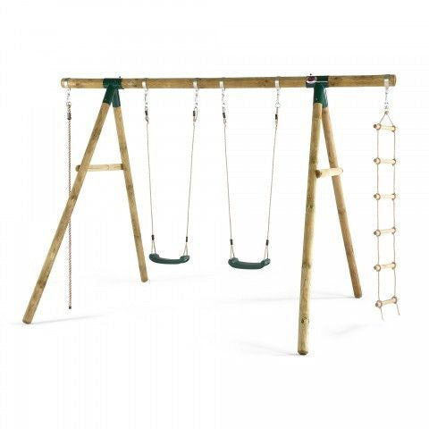 Plum Gibbon Wooden Swing Set with Climbing Rope - Backyard Fun and Play!