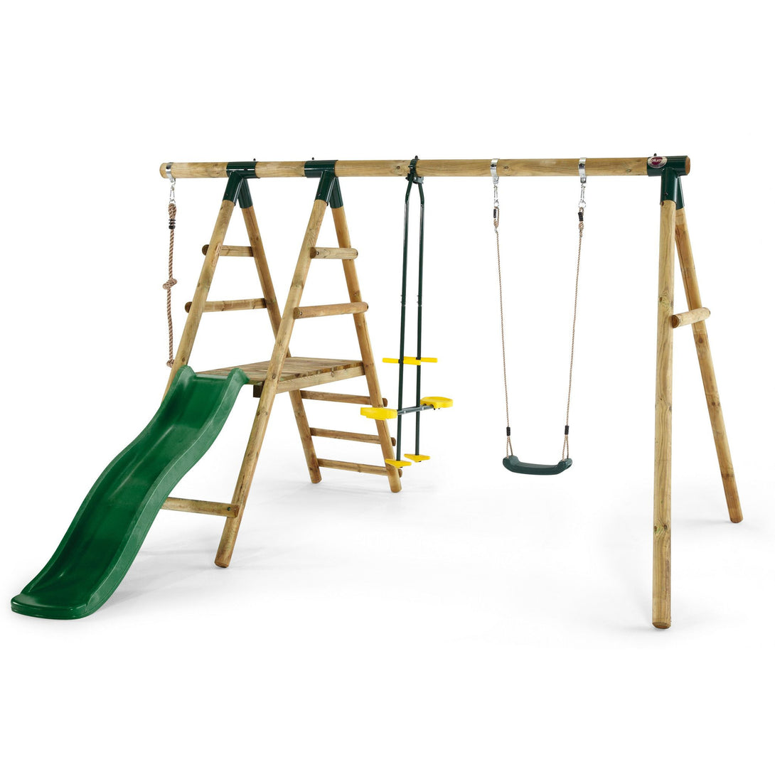 Plum Meerkat Wooden Swing Set with Slide and Glider - Backyard Fun and Play!