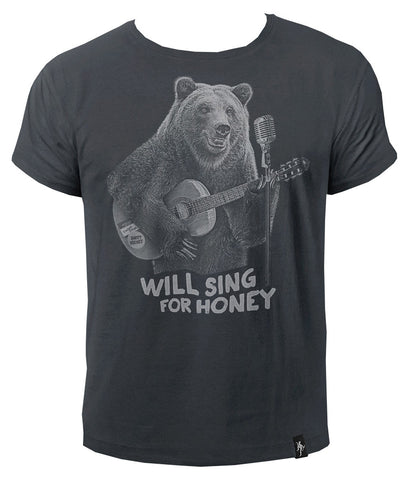 Dirty Velvet Busker Bear t-shirt at T-Baggin.co.uk - for more Dirty Velvet T-shirts visit www.T-Baggin.co.uk