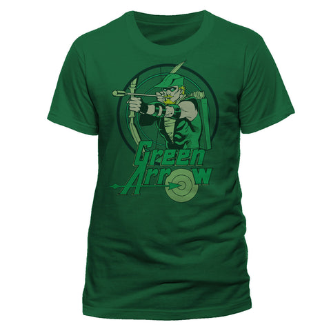 Green Arrow Retro Design T-shirt from T-baggin.co.uk. For this and more comic T-shirts visit T-Baggin.co.uk