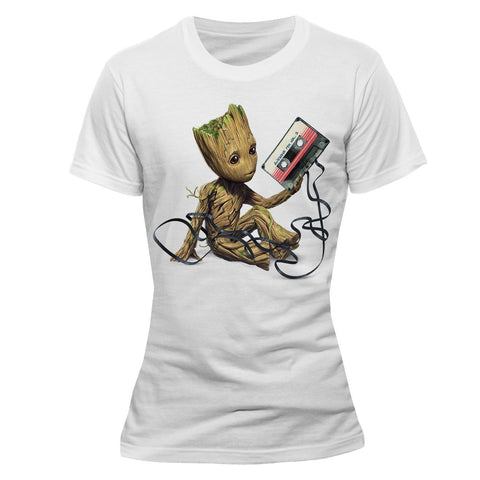 Guardians of the Galaxy 2 Ladies T-Shirt Groot & Tape - T-Baggin