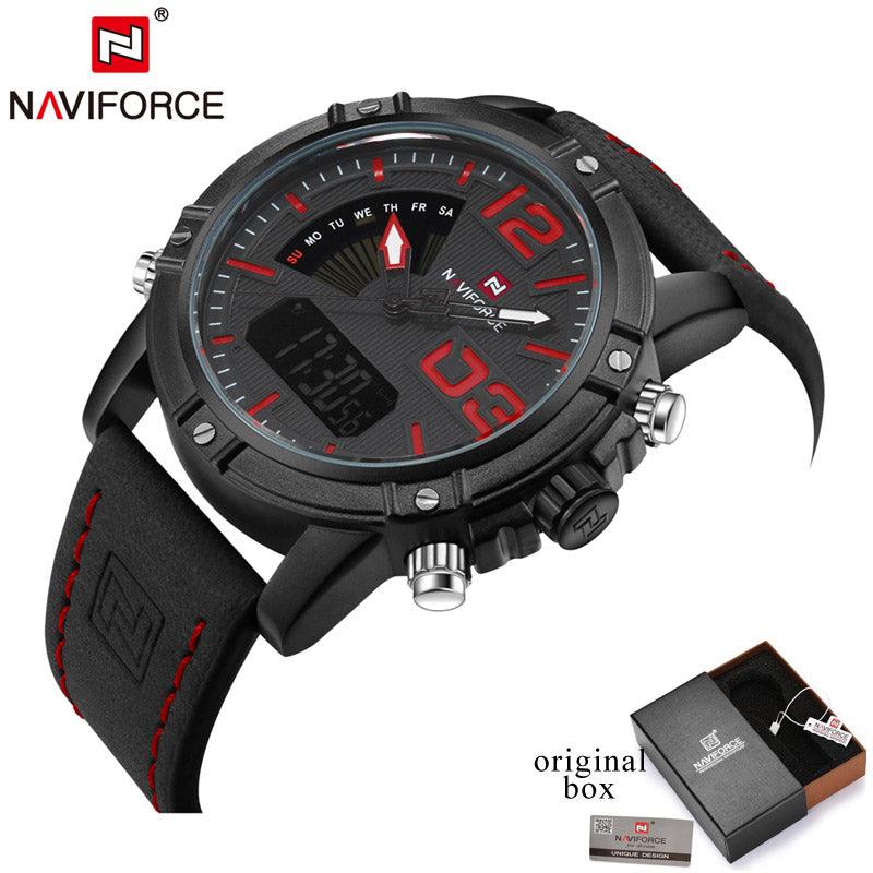 Naviforce Brand Analog LED Digital Watches Men Leather Quartz Watch