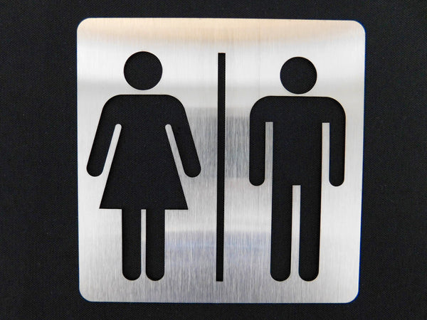TCI Metal Stainless Steel Unisex Restroom Sign
