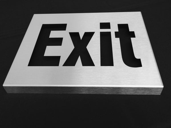TCI Metal Stainless Steel Exit Sign with Wrap