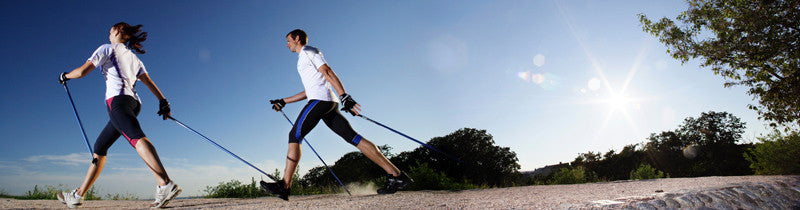Two people Nordic Walking