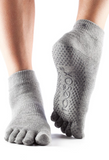 ToeSox Ankle Heather Grey with Full Toe Grip