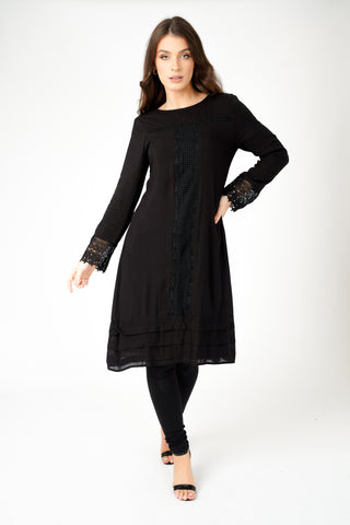 Textured Smock Dress Black