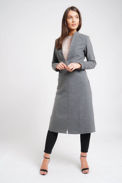 PLEATED MIDI COAT GREY
